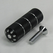Black Anodized CNC Billet Aluminum Motorcycle Brake or Clutch Foot Shift Peg - Knurled and Contrast Cut - For use with MOST models - Harley Chopper Bobber Cafe Racer