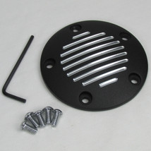 "Black ""Grooved"" 5-Hole Twin Cam Points Ignition Cover - Fits 1999 and UP Harley FLST FXD FLT FXST Twin Cam Motors with 5-Hole Points Covers - Hardware Included - Motorcycle Chopper Bobber Cafe Racer"