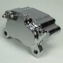 Chrome Ultima 4-piston Billet Aluminum Motorcycle Brake Caliper WITH PADS - Mounting Kits Also Available - Harley Chopper Bobber Cafe Racer
