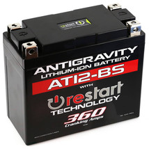 Antigravity AT12BS-RS Lithium Ion Battery with BMS and Re-Start Technology - 360cca 2.3 Pounds 12Ah Lightweight Motorcycle Battery - Replaces YTZ10S - YTZ12 - YTZ14 - YTX9 - YTX7A-BS - YT12A-BS - MADE IN THE USA with a 3 Year Warranty