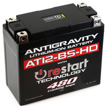 Antigravity AT12BS-HD-RS Lithium Ion Battery with BMS and Re-Start Technology - 480cca 2.95 Pounds 16Ah Lightweight Motorcycle Battery - Replaces YT12BS - YT12b-BS - YT14-BS - YT14B-BS - MADE IN THE USA with a 3 Year Warranty
