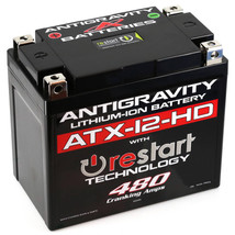 Antigravity ATX12-HD-RS Lithium Motorsport Battery w/ BMS & Re-Start Technology - 480cca 2.95 Pounds 16Ah - Replaces YTX12-BS YTX14H-BS YTX14 YTX14L YTX14H YTX14-BS YTX14L-BS YTX16-BS YTX16-BS-1 HYB16A-AB GYZ16H GYZ16HL - MADE IN USA 3 Year Warranty