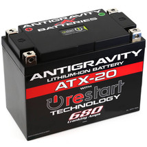 Antigravity ATX20-RS Lithium Motorsport Battery w/ BMS & Re-Start Technology - 680cca 3.8 Pounds 20Ah - Replaces YTX15 YTX15L YTX20 YTX20L YTX20H YTX20HL YTX20-BS GYZ20H GYZ20L GYZ20HL - MADE IN USA 3 Year Warranty