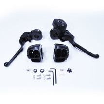 """Black Handlebar Control Kit for 1996-2012 Harley Sportster and Big Twin Models - Comes WITH Switch Housings - Brake Master Cylinder (9/16"""" Bore) for use with Single Disc - Chopper Bobber"""