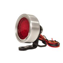 """1.85"""" PRISM Brushed Billet Aluminum """"Speedster"""" LED Motorcycle Tail Light with Mounting Bracket - Brake Stop Light Bobber Chopper Cafe Racer Harley Brat"""