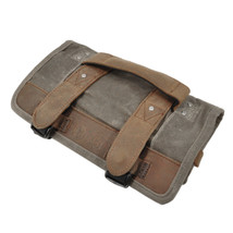 Burly Brand Voyager Tool Roll in Brown - Aged/Distressed Waxed Cotton Canvas with Leather Straps and Handle - 8 Pockets with a Zipper Pouch - MADE IN USA