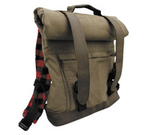 Burly Brand Voyager Roll Top Back Pack in Brown - Aged/Distressed Waxed Cotton Canvas with Leather Straps - MADE IN THE USA
