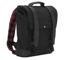 Burly Brand Voyager Roll Top Back Pack in Black - Made from Durable 1000-Denier CORDURA Fabric with Leather Straps - MADE IN THE USA