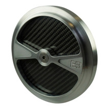 "Brass Balls Cycles F1 Air Cleaner Cover for 5.5"" Harley and S&S Air Cleaners - Billet Aluminum with Carbon Fiber Inlays - Motorcycle Chopper Bobber"