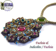 Jeweled Lotus Necklace *Fuchsia & Blue