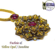 Jeweled Lotus Necklace *Fuchsia & Yellow Opal
