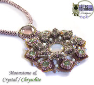 Jeweled Lotus Necklace *Moonstone & Chrysolite