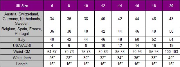 Genuine Leather Skirt With Belt size chart