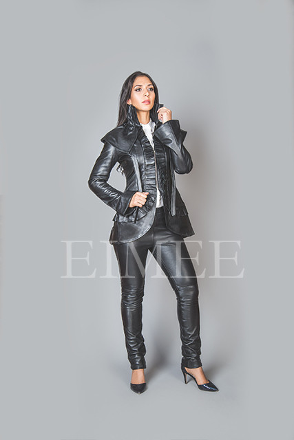 Black Leather Burlesque Victorian Beauty Jacket Military ESTA