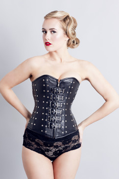 Black Leather Gothic Corset PRIYA front