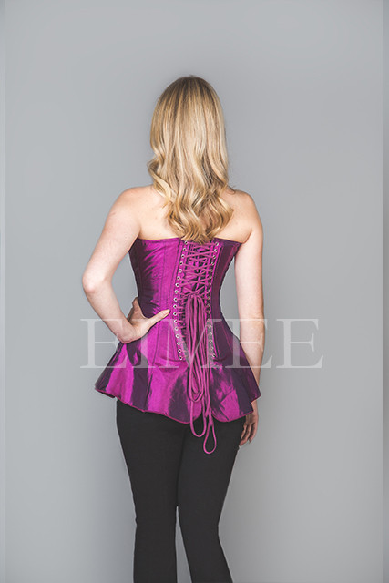 Skirted Basque Slimming Purple Steel Boned SHANEECE  back view