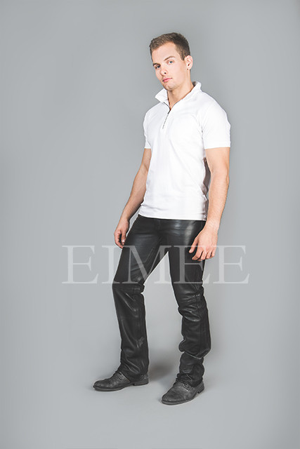 Full Grain Leather Jeans Trousers five pockets TRIS side