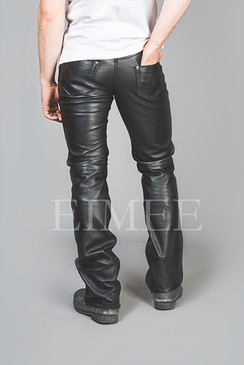 Full Grain Leather Jeans Trousers five pockets TRIS back