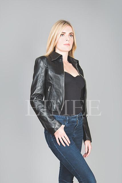 Full Grain Leather Short jacket KATRINA front detail view