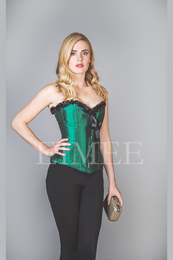Overbust Frilly Green Satin Steel Boned Corset LEELIA
