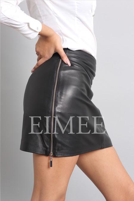 Leather Skirt Classic Design Side Zip Mini Skirt SOPHIA side view