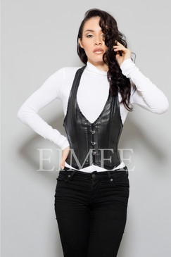 Leather black top for ladies