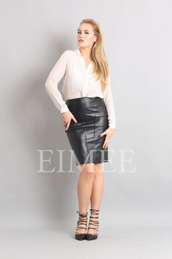Luxury Ladies Leather Pencil skirt in Black GHIYA front