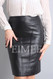 Luxury Ladies Leather Pencil skirt in Black GHIYA front detail