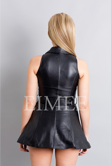 Sexy Black Leather Sleeveless Mini Dress Top MD78 HUNNA back