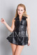 Sexy Black Leather Sleeveless Mini Dress Top MD78 HUNNA front