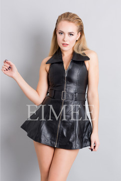 Sexy Black Leather Sleeveless Mini Dress Top MD78 HUNNA front