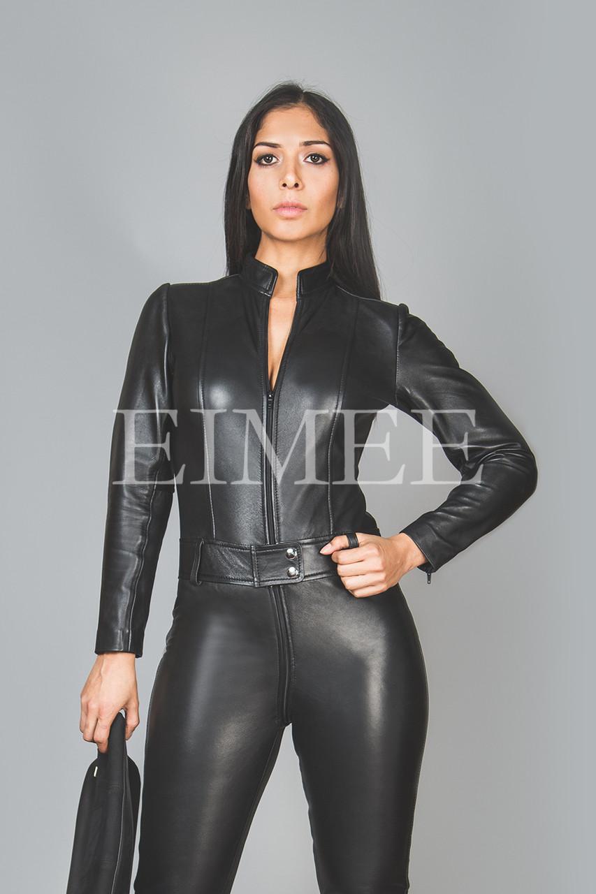 95a4bd2c1ea Black Leather Playsuit Jumpsuit PAULETTA back view. Larger   More Photos