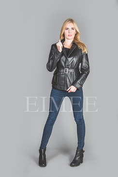 Women's Leather Jacket Wrap Around RALMAIN front