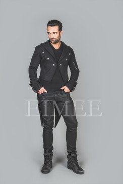 Mens Black Tailcoat Gothic Steampunk Jacket AABI  image 2