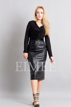 Leather Elegant Pencil Long Skirt High Waisted RAHET front