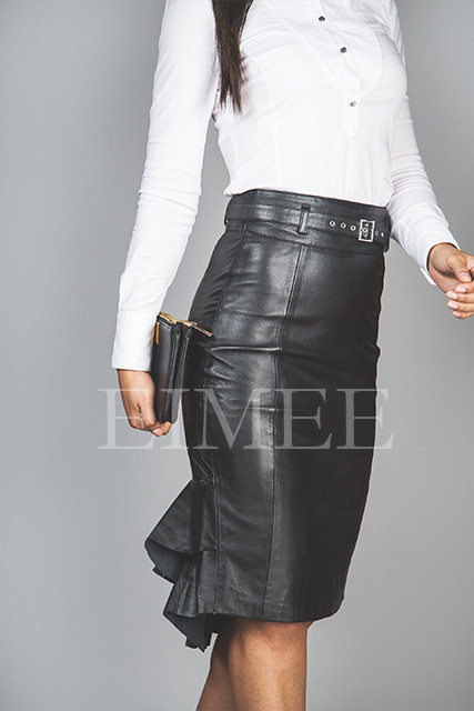 Leather Skirt Elegant Fishtail Vintage Style SHANEEZ side detail