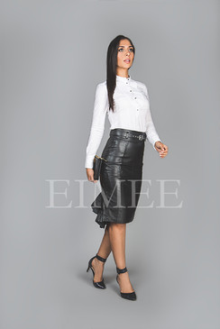 Leather Skirt Elegant Fishtail Vintage Style SHANEEZ side