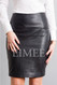 Full Grain Leather Sheath Office Skirt CHANI  front detail