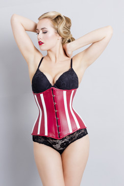 Leather Corset Red White Steel Boned MONTANA