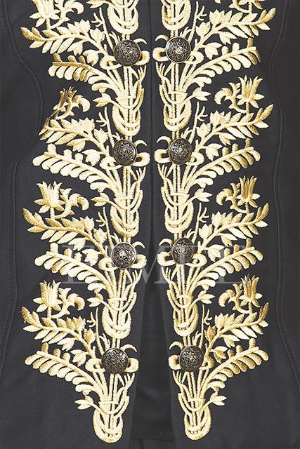 Tailcoat Black Cotton Mens Embroidered Outfit Vintage Wedding Dress KENTZ