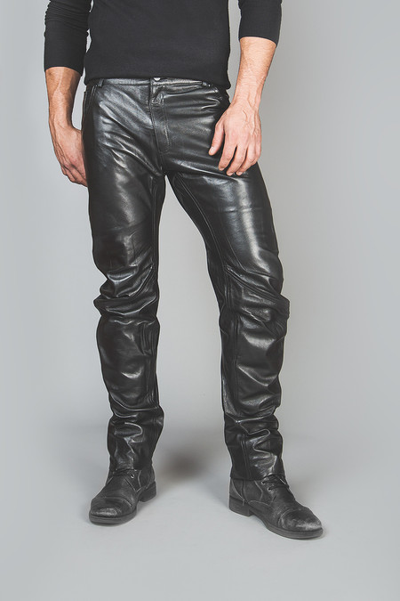 Mens leather trousers front 1