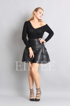 Black Leather Skirt High Waisted JAQUINEE front