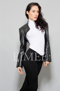 Ladies Leather bolero top bl18 ANNA front