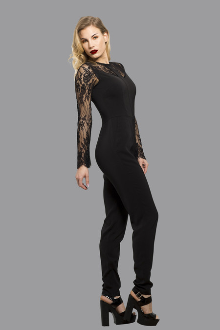Elegant Women's Jumpsuit Playsuit All in One Dress with Mesh Arms Black