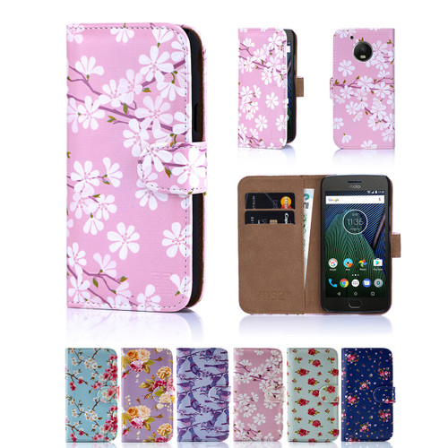 Motorola Moto G5 Pu Leather Floral Design Book Wallet Case