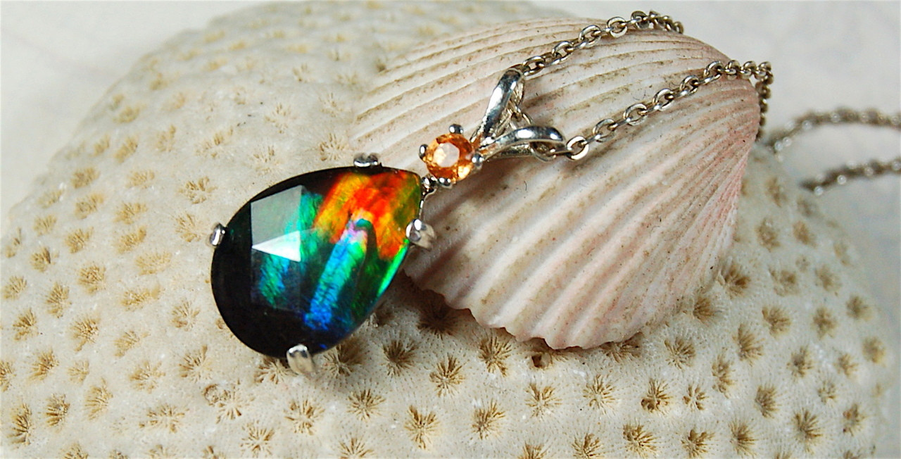 2f5fe4a7e468ef Ammolite Pendant Jewelry.Faceted Rainbow with Sapphire. - Ammolite ...