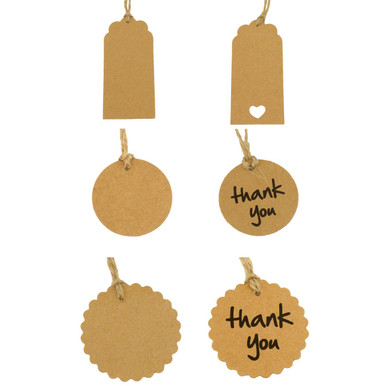 Wedding Brown Kraft Favour Tags with Twine String
