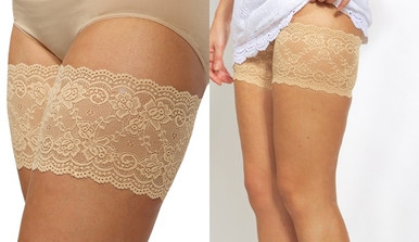 Beige Bandelettes Anti Chafing Lace Thigh Bands Onyx Bridal Wedding Dress Accessory