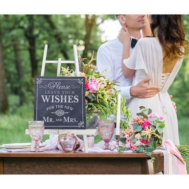Please Leave Your Wishes For the New Mr and Mrs Wedding Sign Blackboard Style