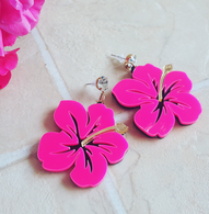 Laser Cut Pink Hibiscus Drop Earrings - Cobalt Heights